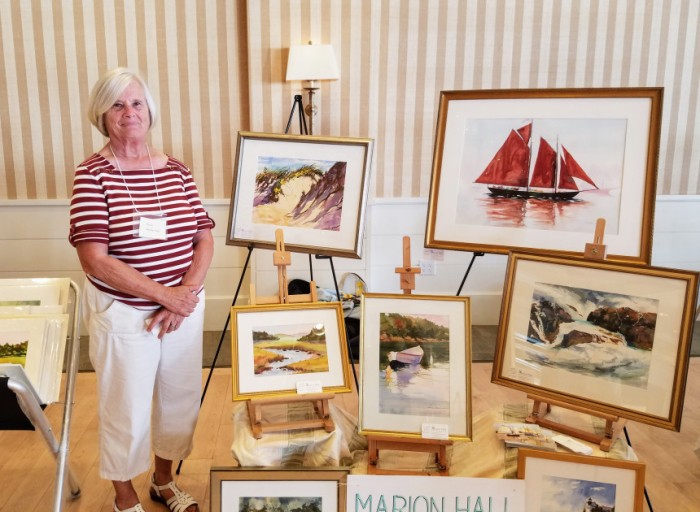 Portrait of artist Marion Hall_exhibiting at Beauport Hotel Art Show_ Cape Ann Art show_2017 Aug 22 Gloucester Mass ©Catherine Ryan