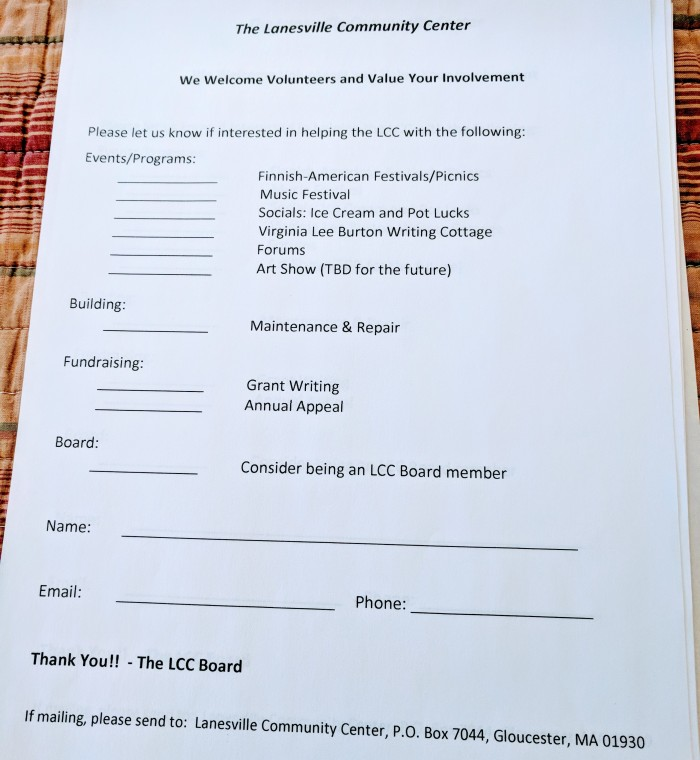 sign up sheet for community center_ Virginia Lee Burton Writing Cottage opens_Lanesville Community Center_Gloucester MA_20181021_© c ryan