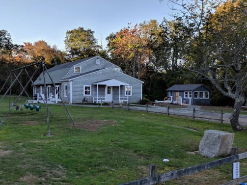 small Virginia Lee Burton Writing Cottage sited next to the larger Lanesville Community Center _ Gloucester Mass_20181018_© c ryan