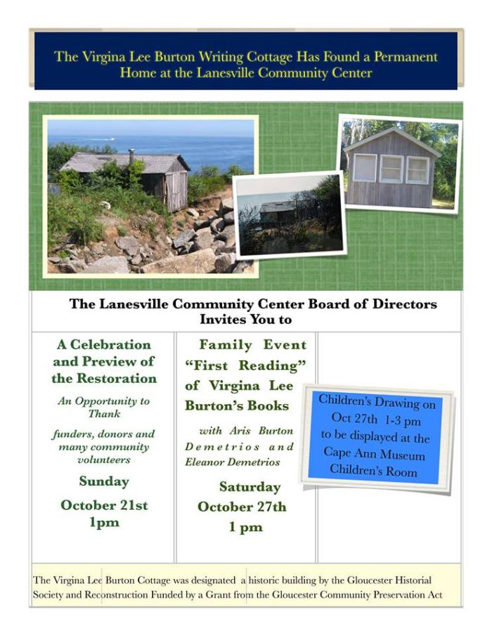 Virginia Lee Burton Writing Cottage at Lanesville Community Center opening reception celebration flyer