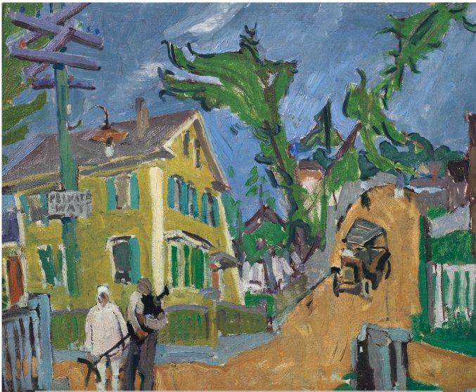 c STUART DAVIS_Private Way_(Gloucester MA)_1916_ oil on canvas_Christies Nov 2018 presale auction est 60 to 80,000