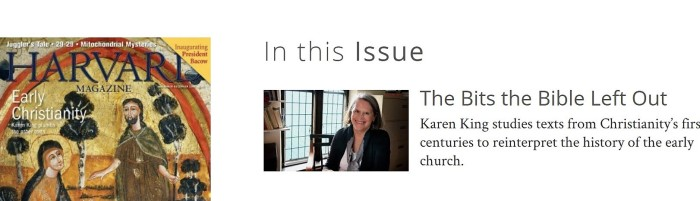 KAREN KING Harvard magazine   Nov-Dec 2018 issue_cover story profile by Lydialyle Gibson.jpg