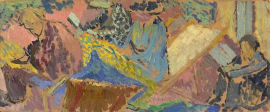 ORESMAN COLLECTION AT DOYLES_DUNCAN GRANT group at Asheham adrian stephen virginia woolf vanessa bell and henri doucet oil on board 1913 est 30 to 40 ooo