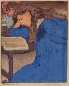 ORESMAN COLLECTION AT DOYLES_Frank Morley Fletcher the bookworm the blue girl color woodcut ca 1904 ed 75 est 1000 to 1500