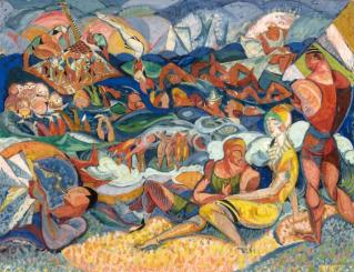 ORESMAN COLLECTION AT DOYLES_James Daugherty untitled beach scene ca1915 gouache and ink on paper 12 x 16 est 1000- to 1500
