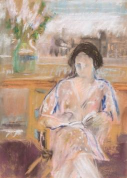 ORESMAN COLLECTION AT DOYLES_jane freileicher woman reading ca 1960 est 1-1500 13 x 9 in