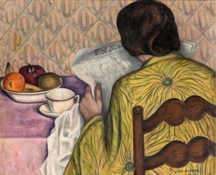 ORESMAN COLLECTION AT DOYLES_jane rogers breakfast 1927 oc 20 x 24 est 500-700