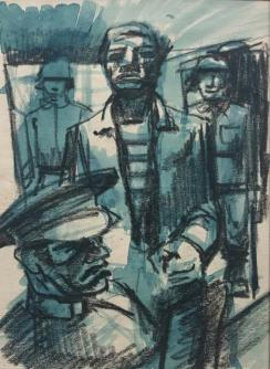 ORESMAN COLLECTION AT DOYLES_John Wilson study for interrogation est 1000-1500 1944 wc ink and crayon on paper study for litho