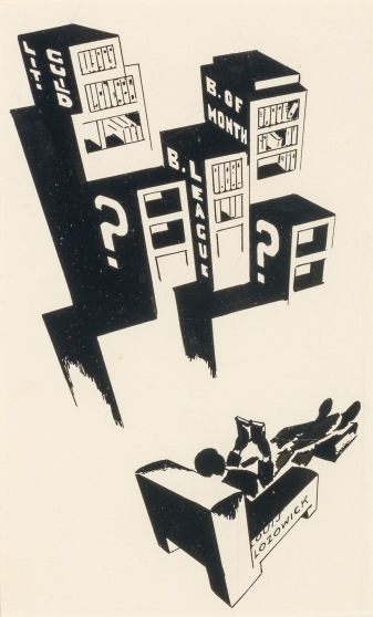 ORESMAN COLLECTION AT DOYLES_Louis Lozowick books on belt 1929 ink on paper 11.5 x 7 predates chop suey