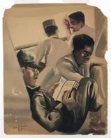 ORESMAN COLLECTION AT DOYLES_william e smith on board a ship in the pacific 1945 wc on brown paper 11 x 8