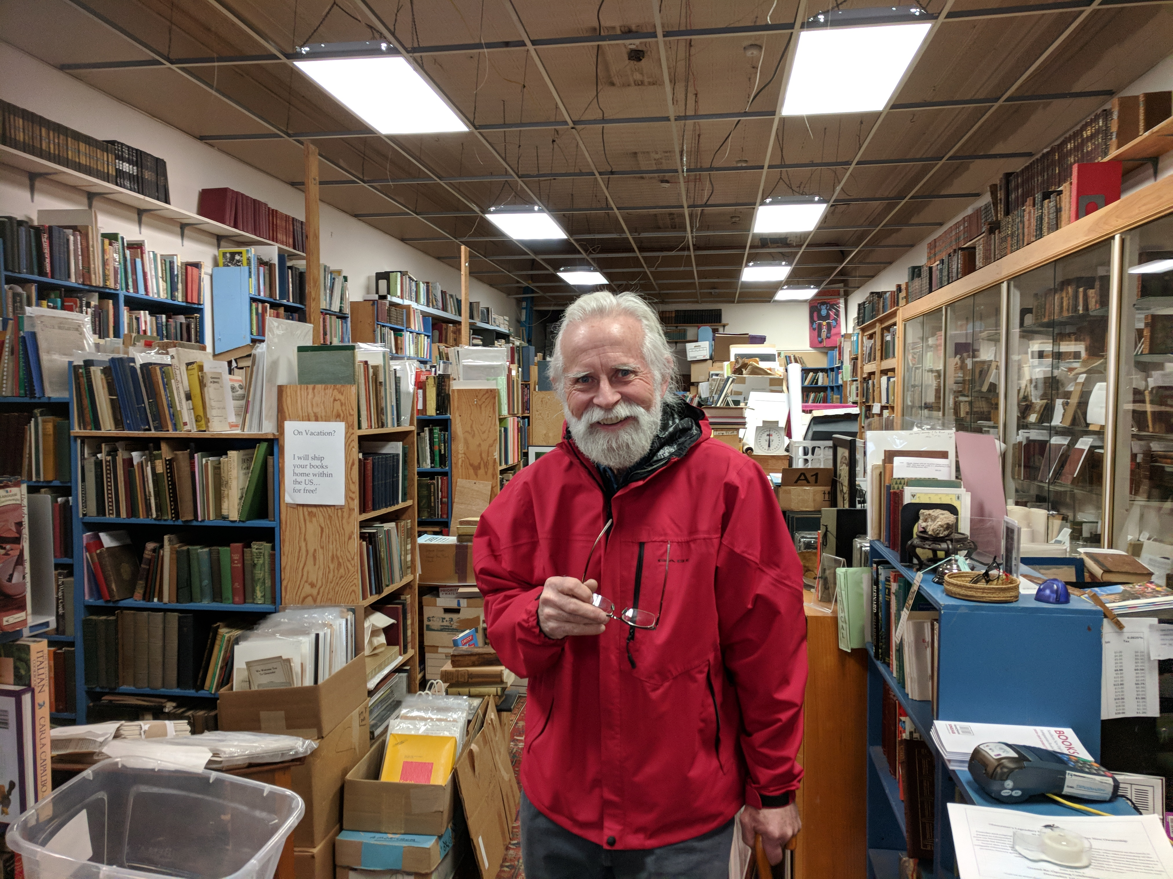 portrait of BOB RITCHIE_used and rare books dealer_on his last day as bricks and mortar owner legendary Dogtown Books_Gloucester Ma_20181119a_© c ryan