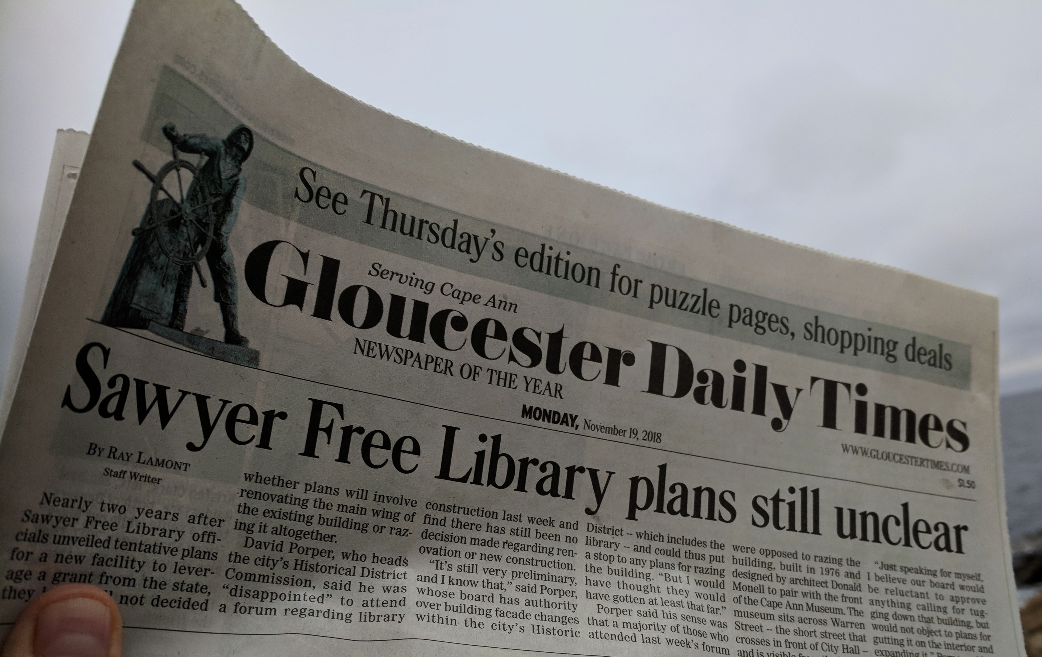 Ray Lamont article above the fold_library building plans update_Gloucester Daily Times_20181120_©c ryan