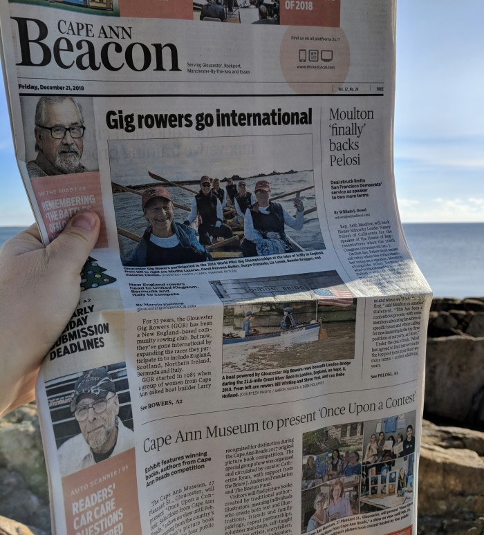 Front Page Cape Ann Beacon_Gig rowers_Cape Ann Museum presents Once upon a Contest_December 21 2018.jpg