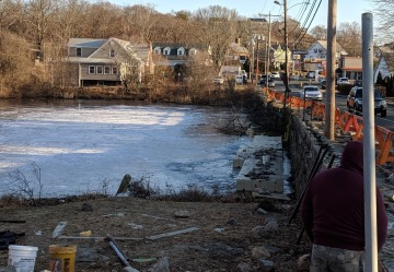 Some days pond is frozen_temporary dock for retaining wall work_Gloucester MA DPW Days Pond stone work Dec 2018 ©c ryan