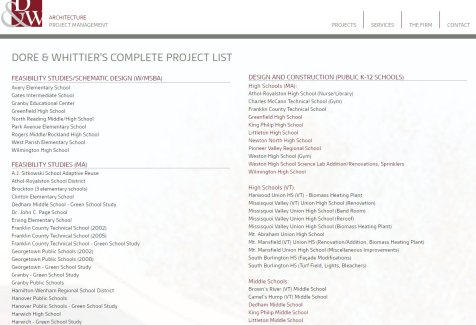 Dore and Whittier p 1 of 4 complete project list top page