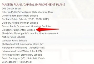 Glouc Elementary Schools Dore and Whittier master plans capital improvement on completed projects page_120318