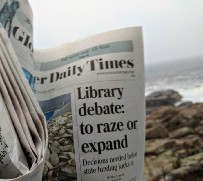 Gloucester Daily Times Nov 29 2018 Library debate to raze or expand by Ray Lamont.jpg