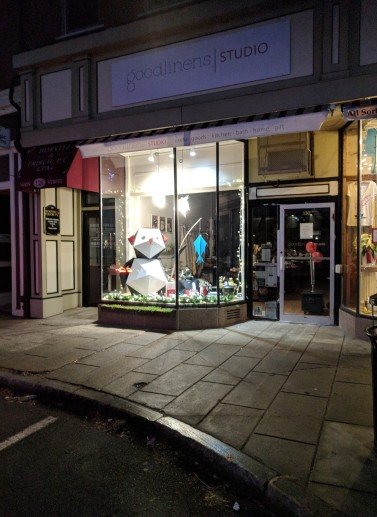 goodlinens studio Main Street Gloucester MA _ window display_ penguin fishing _20181215_©c ryan (3)