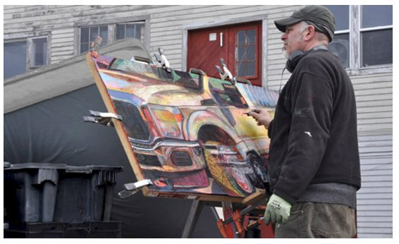 image of artist Jeffrey Marshall working at Morse-Sibley Wharf on Monster Truck #3_Gloucester MA_ courtesy photo.jpg