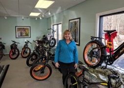 owner Kathy Reed_Cape Ann Electric Bikes_buy or rent_countrys first exclusive AddMotor brick and mortar shop_20181215_© c ryan (3)