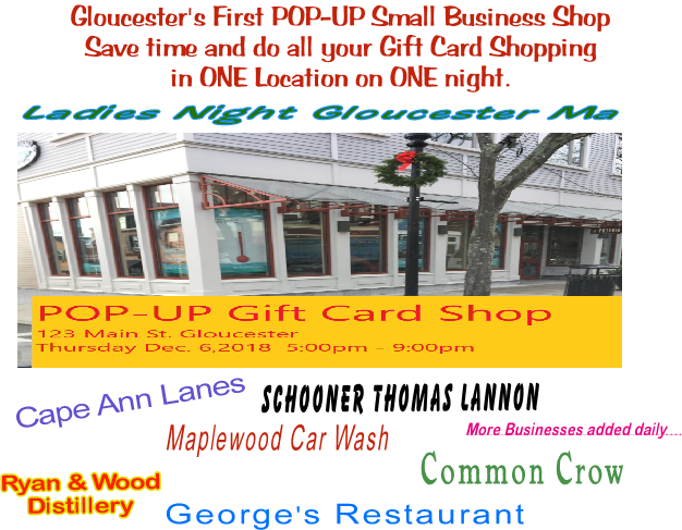 Pop Up Gift Card Shop Ladies Night Gloucester MA 2018