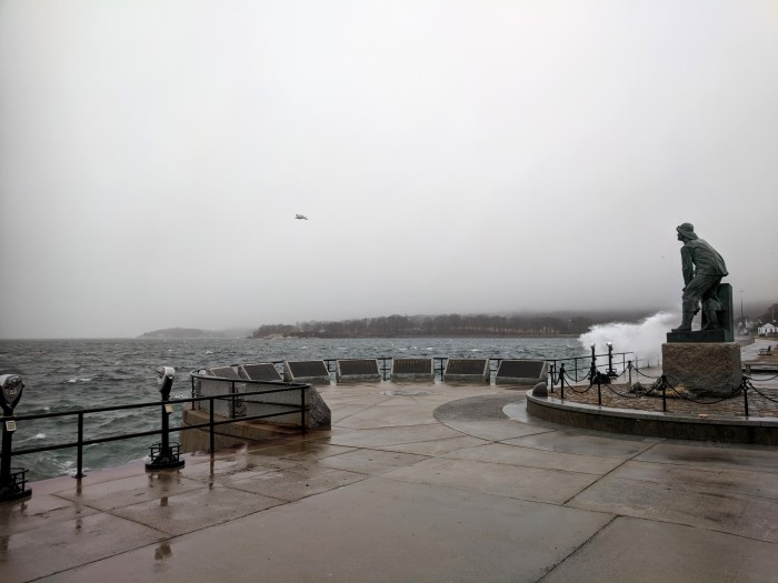 riding out Dec 21 storm_Stacy Boulevard promenade near Man at the Wheel memorial_Gloucester Harbor_Gloucester MA_©c ryan (2)