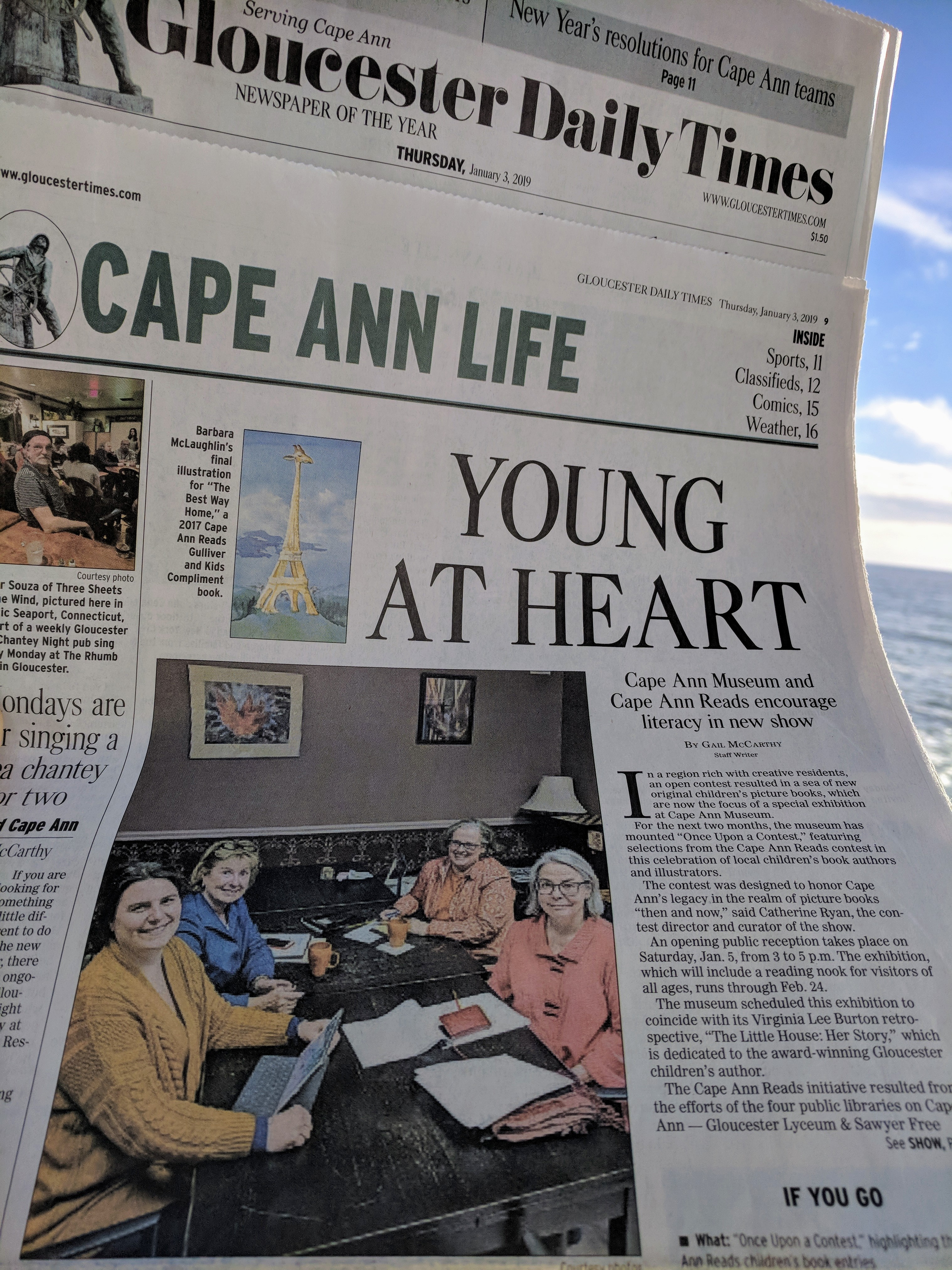 Gail McCarthy Gloucester Daily Times article Once Upon a Contest Cape Ann Reads at Cape Ann Museum exhibition © catherine ryan.jpg