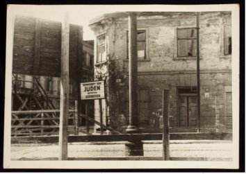 a sign for jewish residential area restriction_ photo 2015 art gallery of ontario henryk ross lodz ghetto collection
