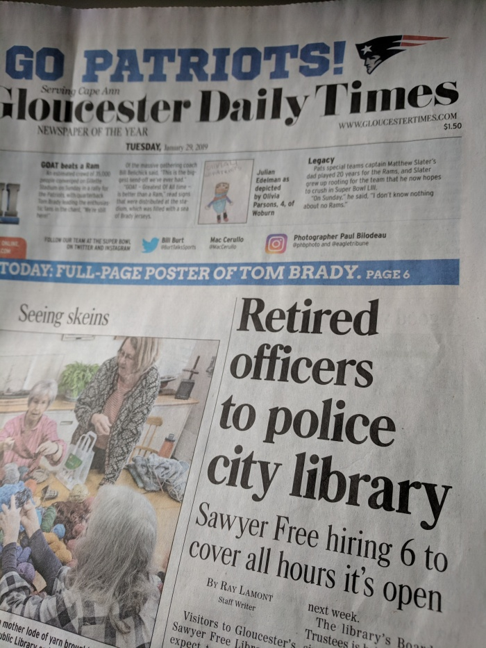 front page todays GDT newspaper_ Sawyer Free Library retired police officers_20190129_© c ryan.jpg