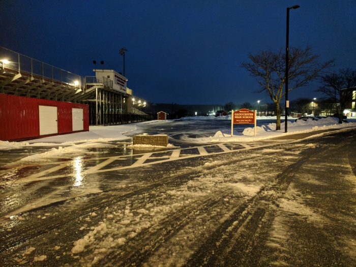 gloucester ma winter storm prep_parking barriers at gloucester high school_20190120_© catherine ryan