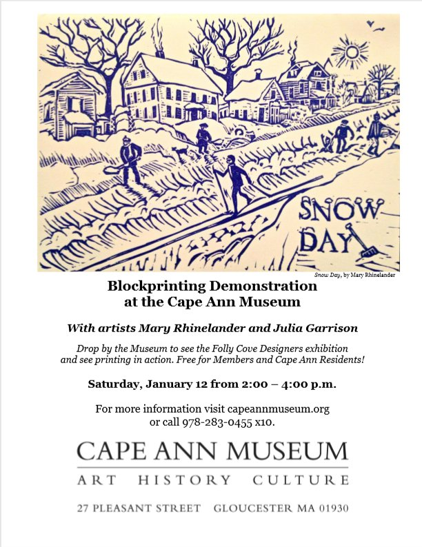 mary rhinelander and julia garrison blockprinting demo at cape ann museum for virginia lee burton her story and folly cove designers exhibition jan 2019