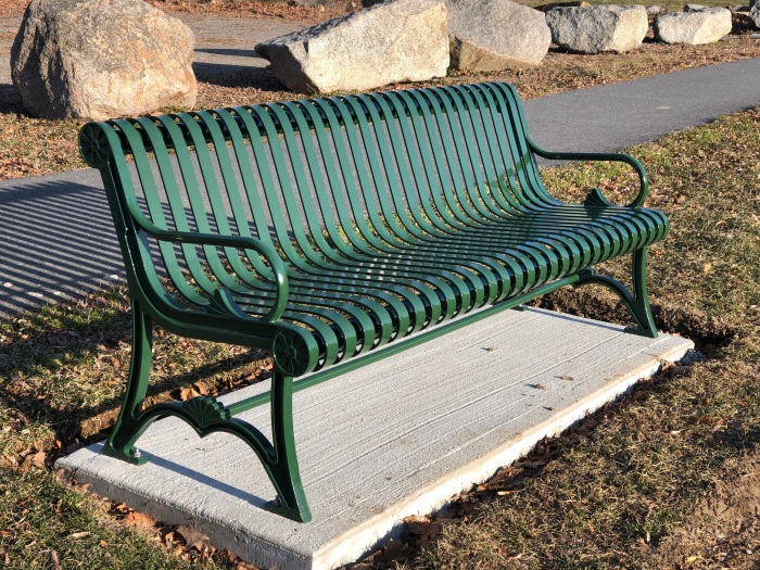 new park bench on its own