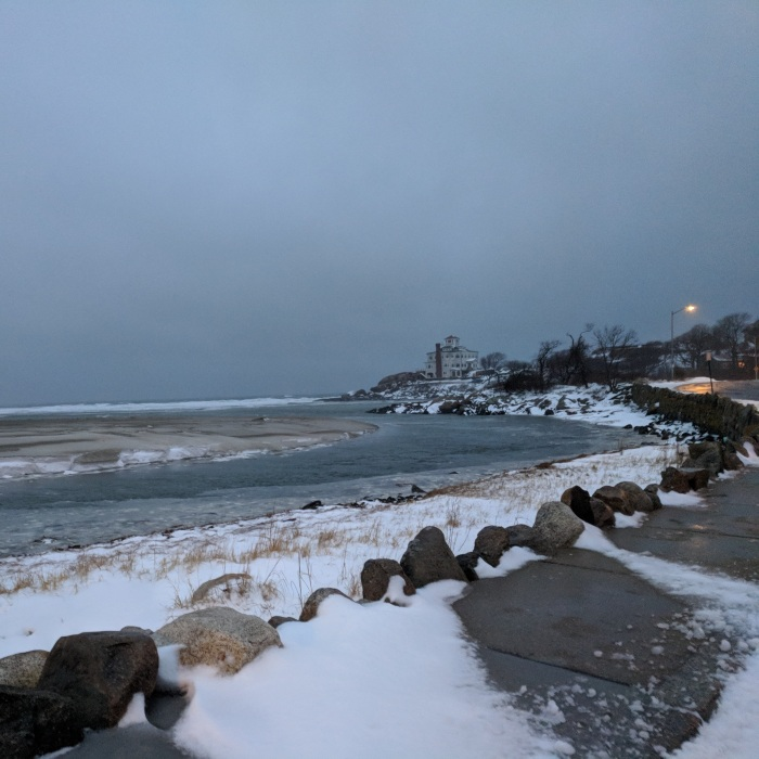 tide rising good harbor beach first winter storm spotty snow drifts_20190120_© catherine ryan
