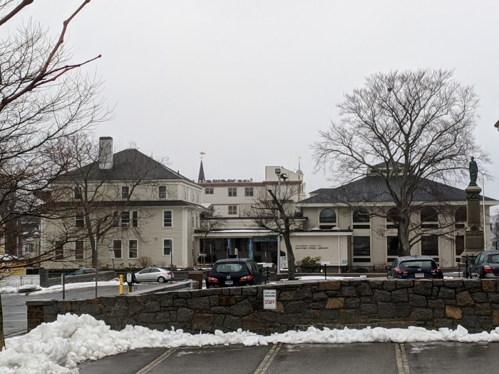 architecture of Sawyer Free Library Gloucester MA_comprised of three buildings_winter 20190224_©Catherine Ryan