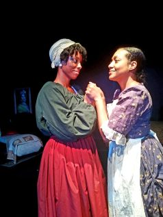 Candis Hilton as Phillis Wheatley (left) and Ines de la Cruz as Obour Tanner (right)
