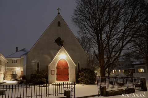 Gloucester Snowy Night Saint john's Episcopal Church copyright Kim Smith