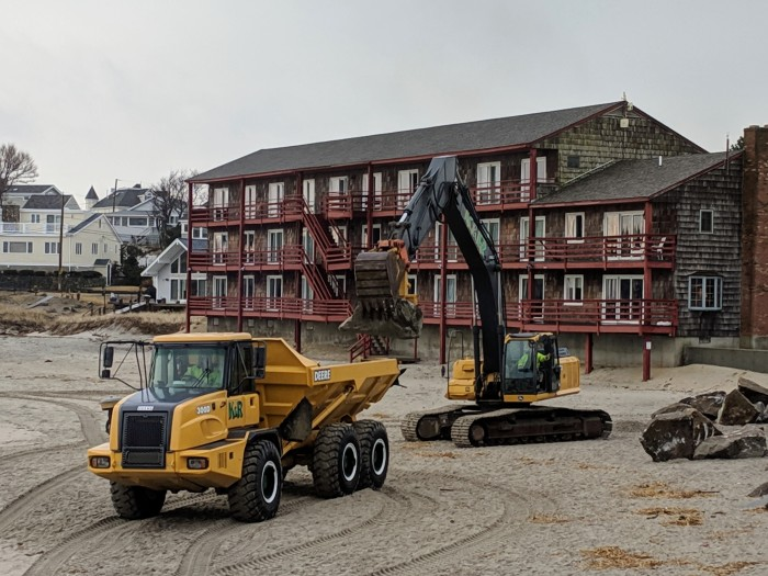 heavy equipment_Long Beach_ Cape Ann Motor Inn_walkway winter 2019 repairs on beach side_20190208_Gloucester Rockport Mass© Catherine Ryan a
