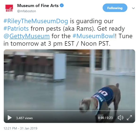 MFA Boston twitter account Museum Bowl 2019