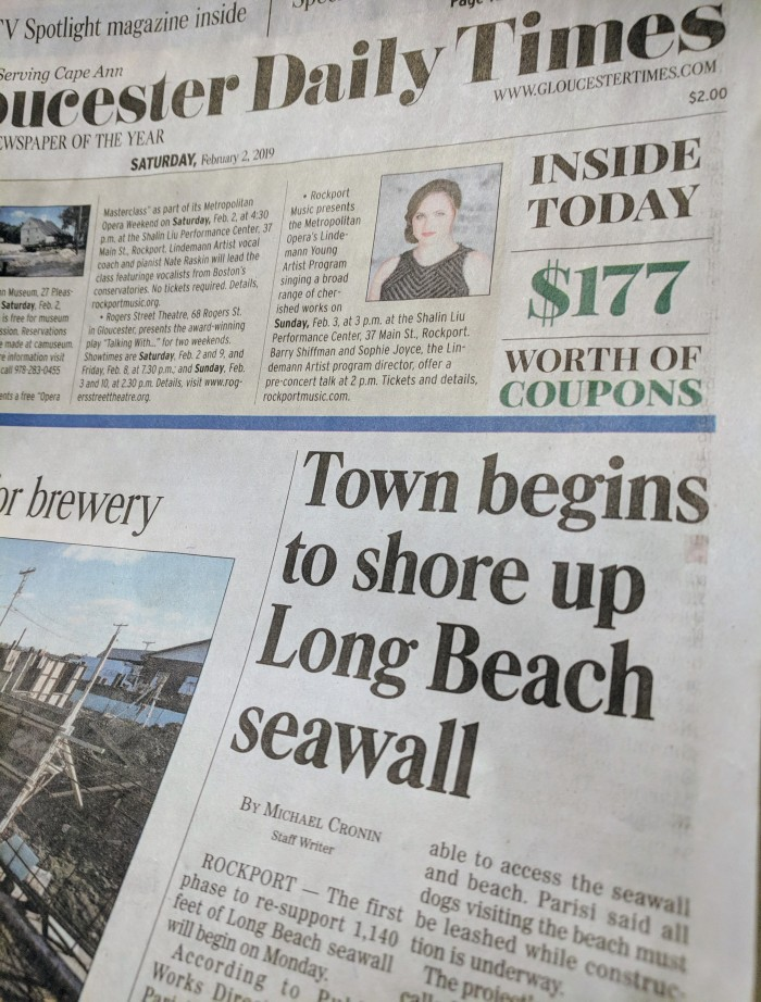 Michael Cronin writes about upcoming seawall repairs_Gloucester Daily Times front page feb 2 2019