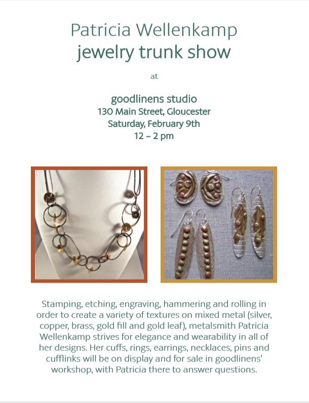 Patricia Wellenkamp trunk show at goodlinens flyer
