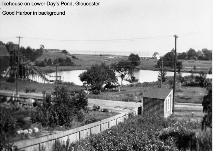 historic photo_icehouse on lower's day pond Good Harbor Beach in background_courtesy photo from Scott Memhard Cape Pond Ice Gloucester Mass
