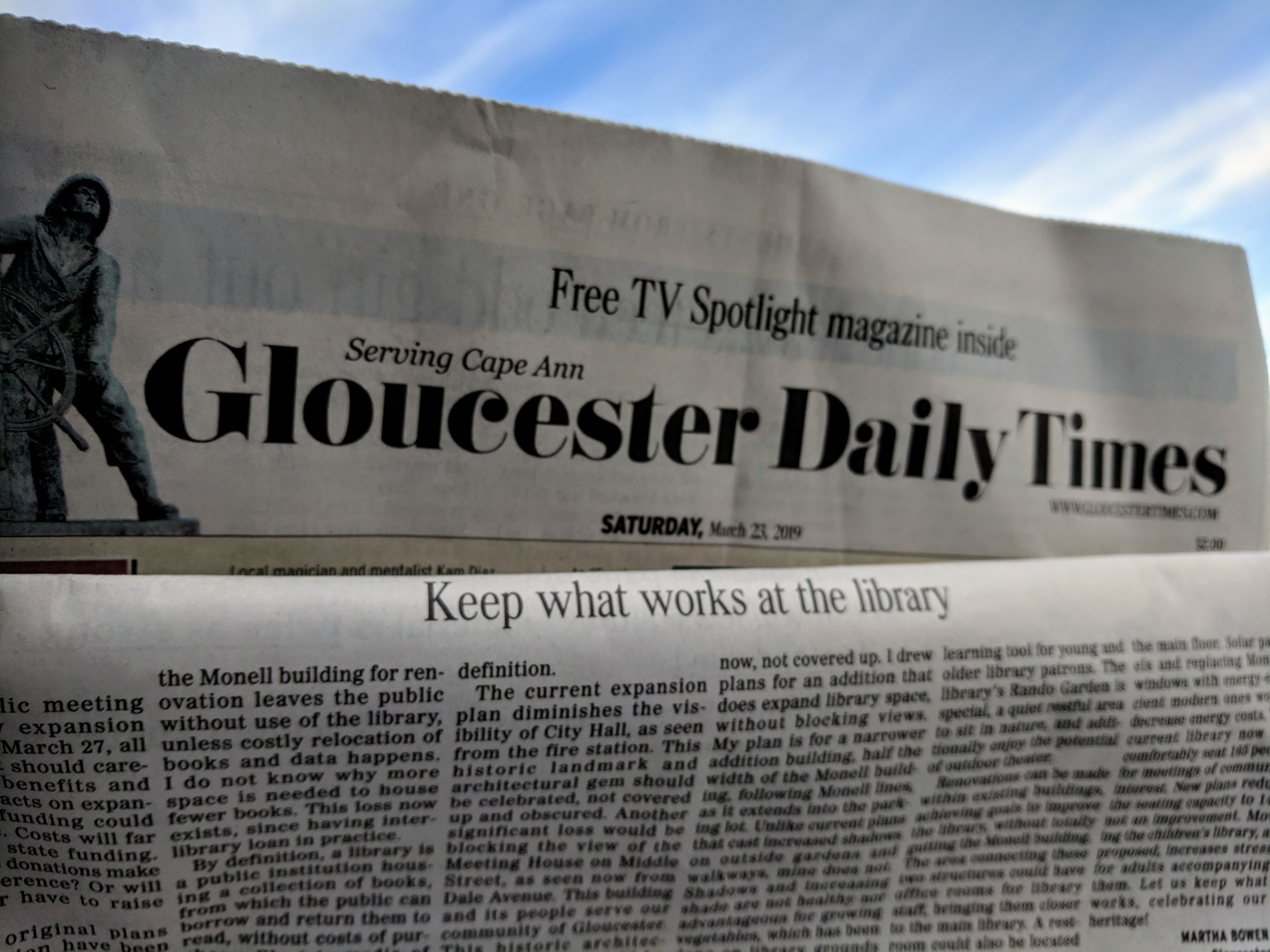 Keep What Works at the Library LTE by Martha Bowen Gloucester Daily Times_March 23 2019.jpg