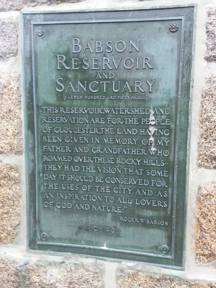 Babson Reservoir and Sanctuary 1931 dedication plaque Gloucester MA photograph 20160810_©catherine ryan