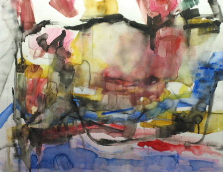 Erma Wheeler . Quarried Waters 1997 . watercolor on paper . 22x28 inches . 30x36 inches framed