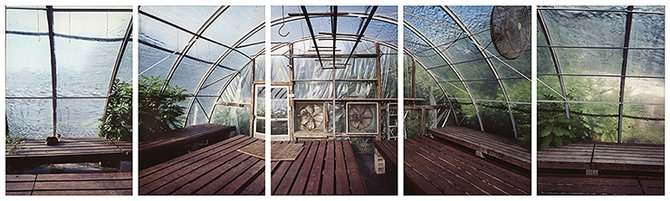 Esther Pullman Marshall's Farm Stand Greenhouse Storm Fans and Cat 2006 (2)