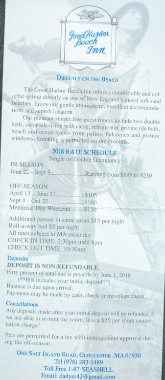 Good Harbor Beach inn rate card 2018