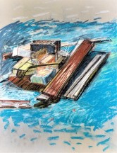Jeff Marshall . 'Raft1' 2018 . Conte and pastel on paper .18x24inches