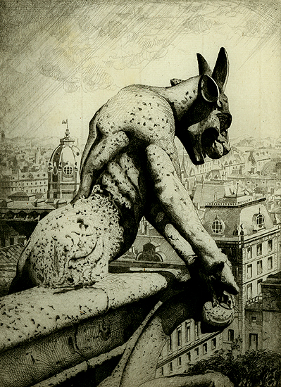 John Taylor Armsthe Gargoyle and His quarry, Notre Dame 1920 etching