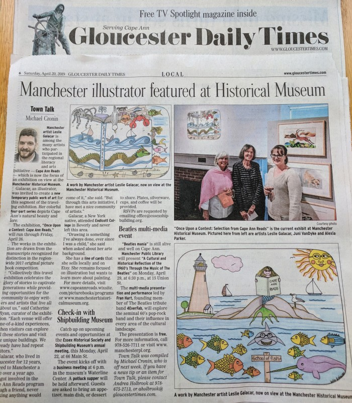 Leslie Galacar temporary works featured in GDT_20190420_Cape Ann Reads at Manchester Historical Museum
