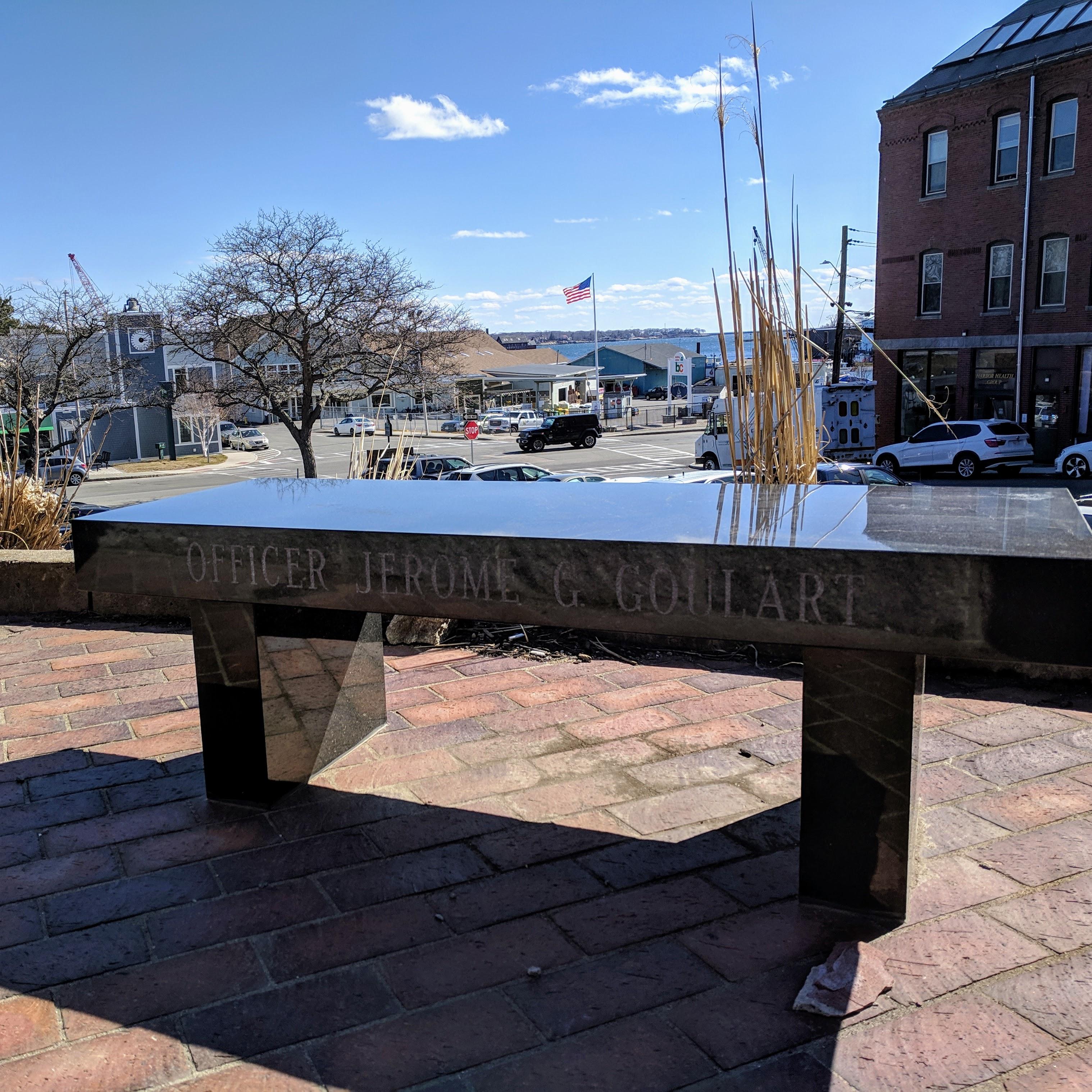 Officer Jerome G. Goulart memorial bench_Gloucester Ma_police station_20190401_© c ryan.jpg